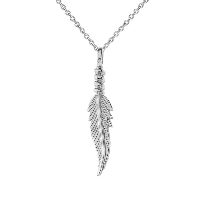 Dainty Feather Pendant Necklace in Sterling Silver