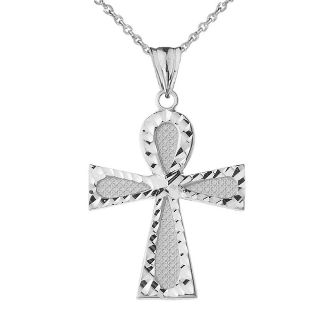 Sparkle Cut Ankh Cross Pendant Necklace in White Gold