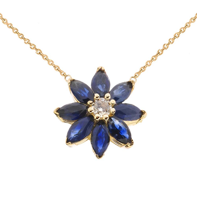 Genuine Sapphire and Diamond Daisy  Necklace In 14K  Yellow Gold