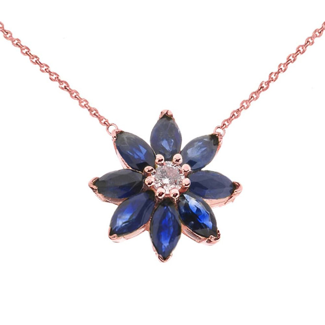 Genuine Sapphire and Diamond Daisy  Necklace In 14K Rose Gold