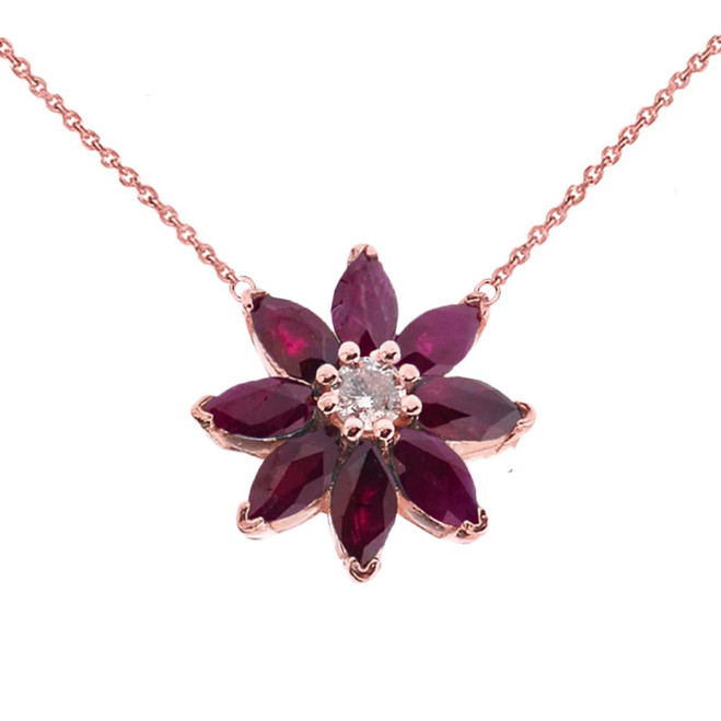 Genuine Ruby and Diamond Daisy  Necklace In 14K Rose Gold