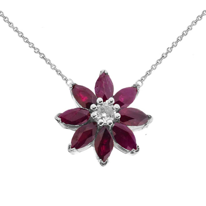 Genuine Ruby and Diamond Daisy  Necklace In 14K White Gold