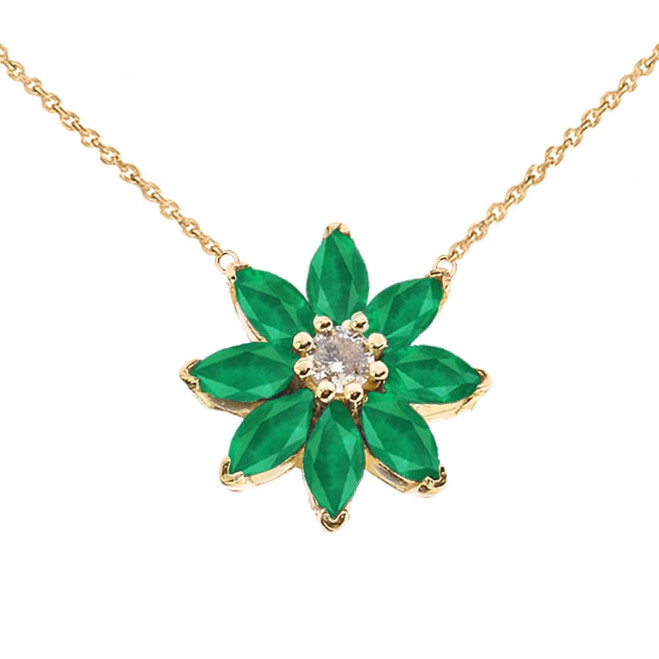 Emerald and Diamond Daisy  Necklace In 14K Yellow Gold