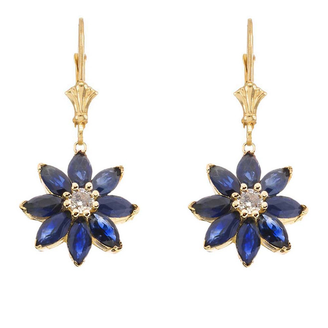 Genuine Sapphire and Diamond Daisy Leverback Earrings In 14K Yellow Gold
