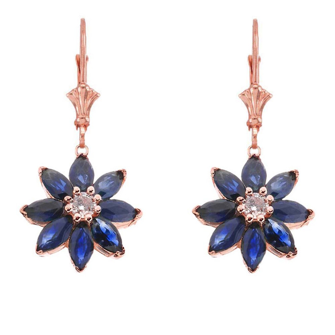 Genuine Sapphire and Diamond Daisy Leverback Earrings In 14K Rose Gold
