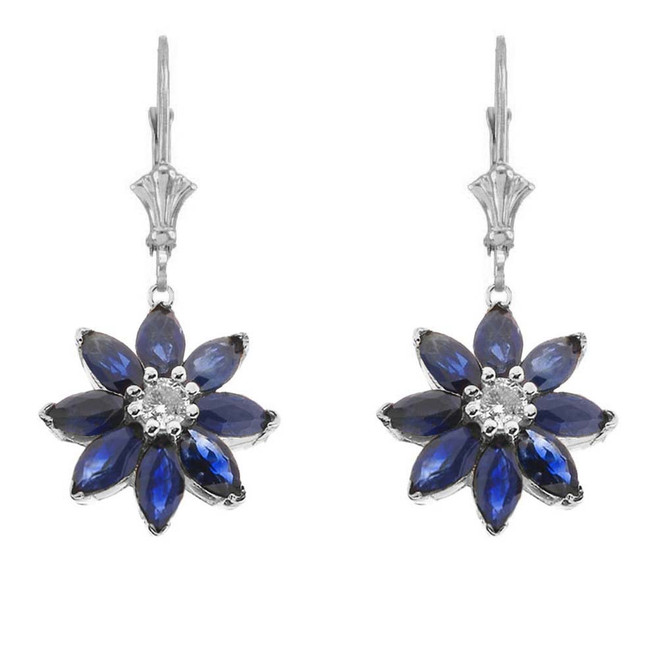 Genuine Sapphire and Diamond Daisy Leverback Earrings In 14K White Gold