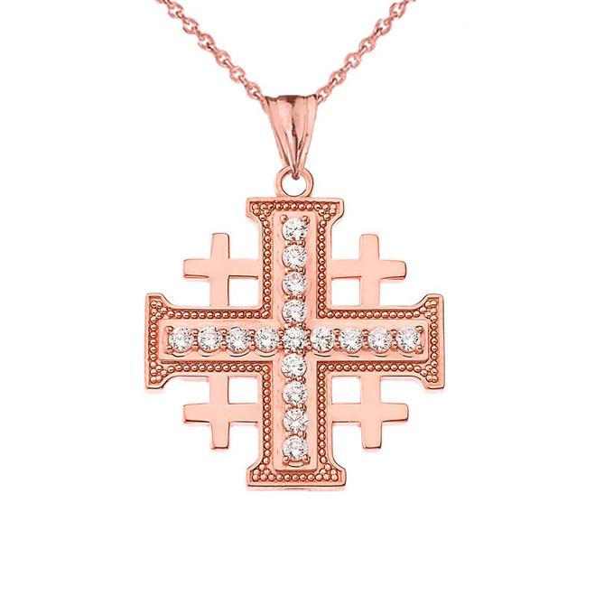 CZ Jerusalem Cross Pendant Necklace in Rose Gold