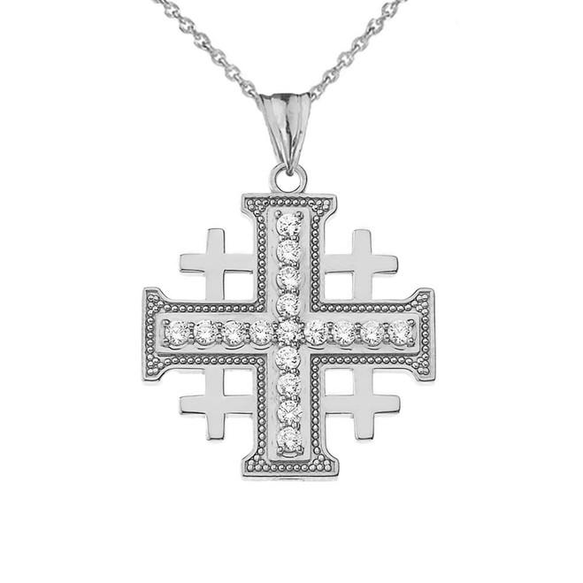 CZ Jerusalem Cross Pendant Necklace in White Gold