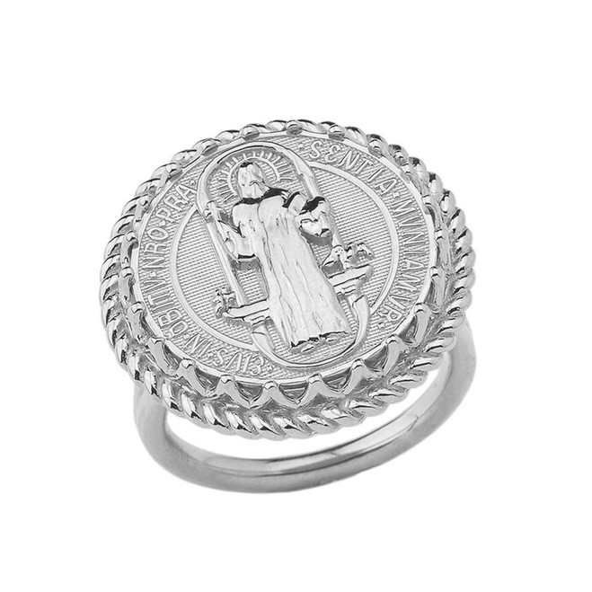 Saint Benedict statement Ring in Sterling Silver