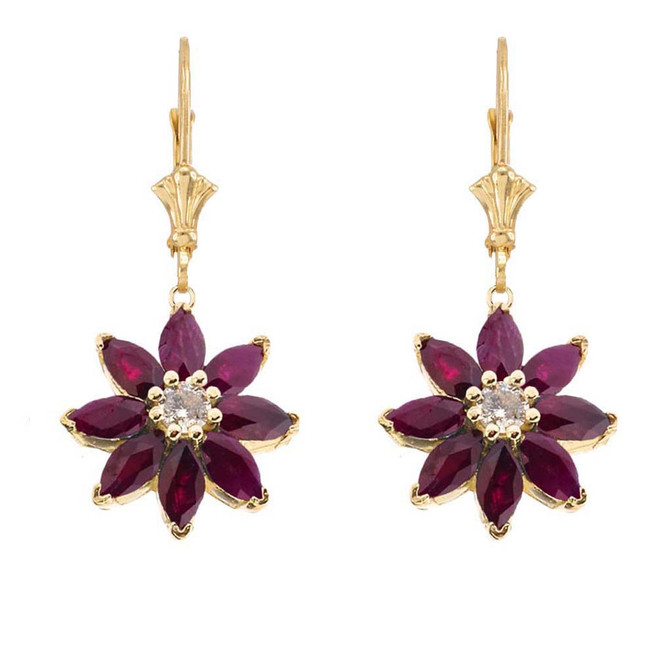 Genuine Ruby  and Diamond Daisy Leverback Earrings In 14K Yellow Gold