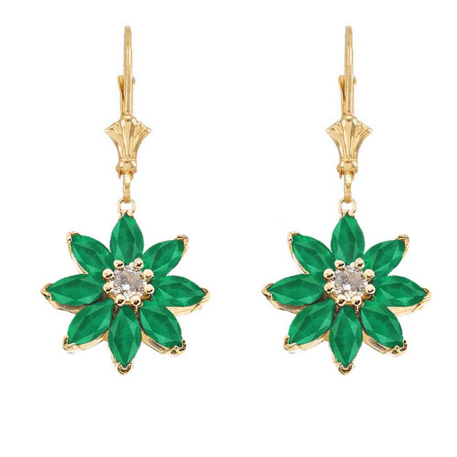 Emerald and Diamond Daisy Leverback Earrings In 14K Yellow Gold