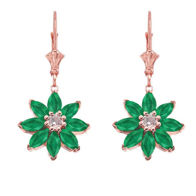 Emerald and Diamond Daisy Leverback Earrings In 14K Rose Gold