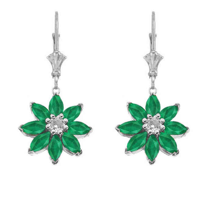 Emerald and Diamond Daisy Leverback Earrings In 14K White Gold
