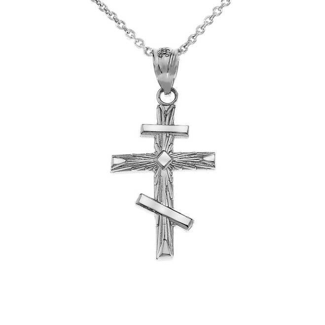 Russian Orthodox  Pendant Cross Pendant Necklace in White Gold