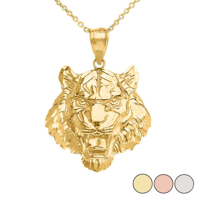 Roaring Tiger Pendant Necklace in Gold (Medium) 1.31 in. (Yellow/Rose/White)