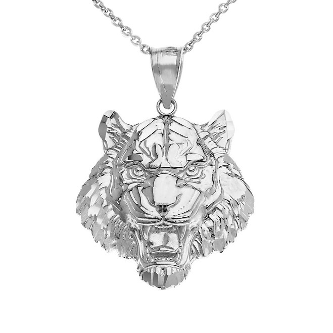 Roaring Tiger Pendant Necklace in .925 Sterling Silver (Medium)