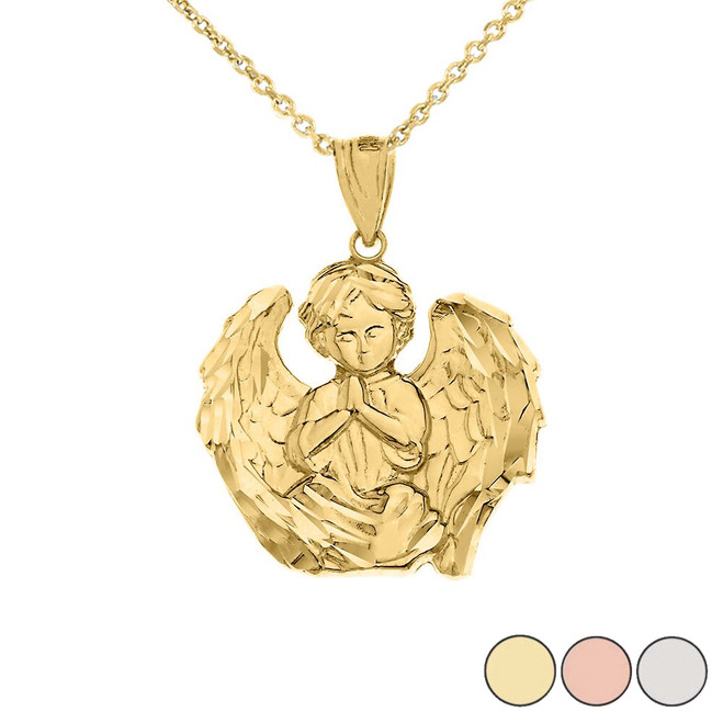 Praying Guardian Angel Pendant Necklace in Gold (Yellow/Rose/White)