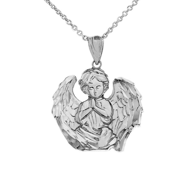 Praying Guardian Angel Pendant Necklace in White Gold
