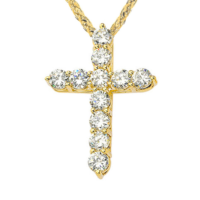 Yellow Gold Cross Elegant Pendant Necklace (XS-XL)