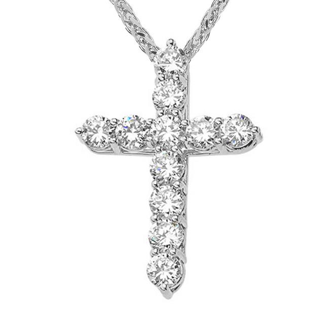 White Gold Cross Elegant Pendant Necklace (XS-XL)