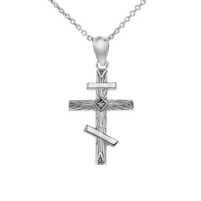 Diamond Russian Orthodox Cross Pendant Necklace in White Gold