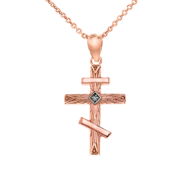 Diamond Russian  Orthodox Cross Pendant Necklace in Rose Gold