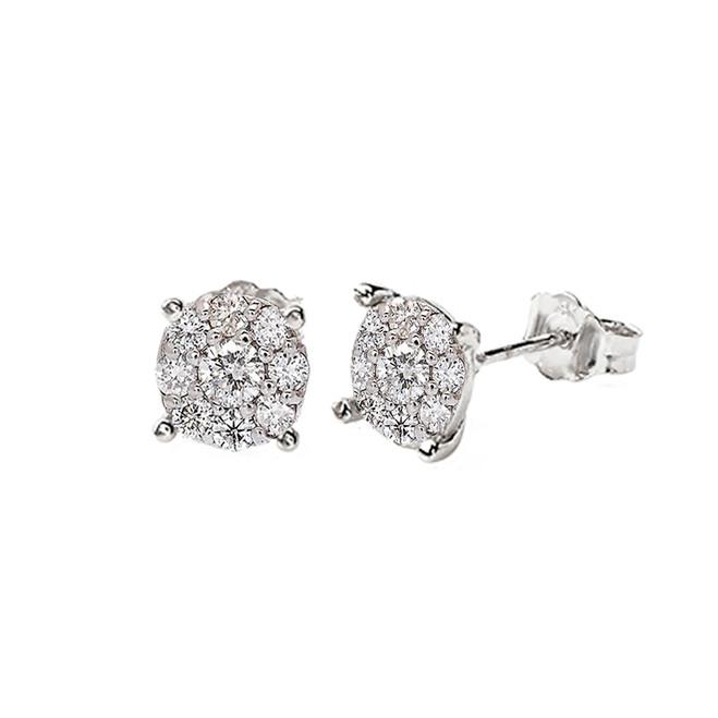 14K White Gold Cluster Natural Diamond Stud Earrings (S-L)