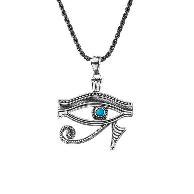 Eye of Horus Oxidized Sterling Silver Turquoise Pendant Necklace