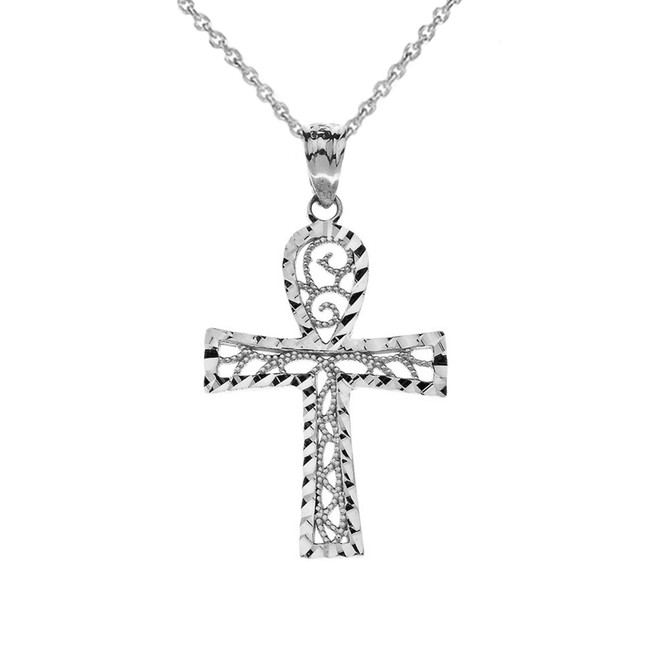 Sparkle Cut  Filigree Ankh Cross Pendant Necklace in Sterling Silver
