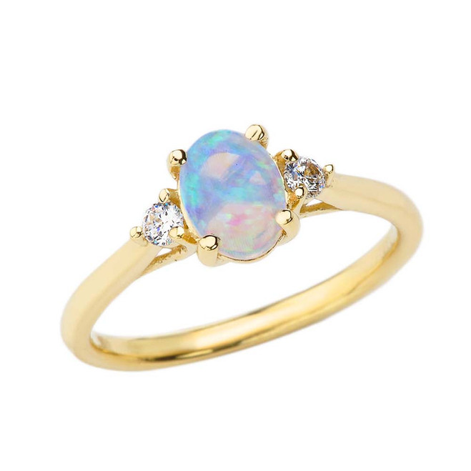 October Birthstone and White Topaz Promise Ring In Yellow Gold