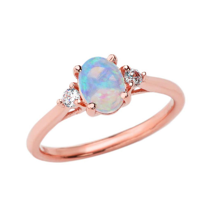 October Birthstone and White Topaz Promise Ring In Rose Gold