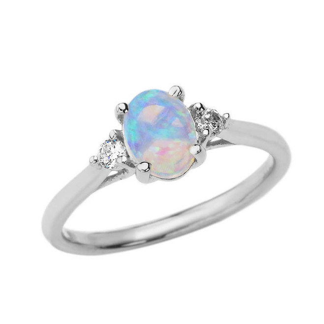 October Birthstone and White Topaz Promise Ring In White  Gold