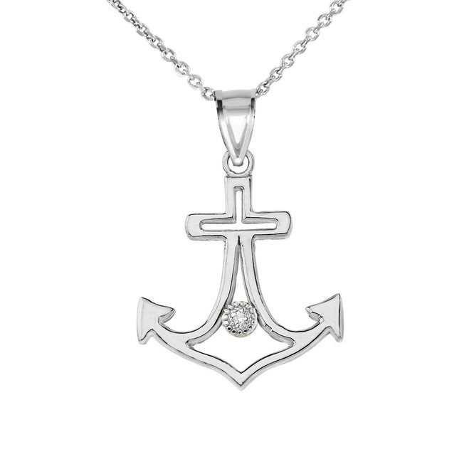 Diamond Outline Anchor Pendant Necklace in White Gold