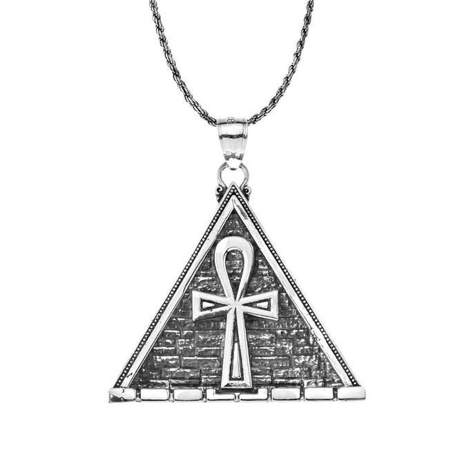 Oxidized Bold Ankh Pyramid Pendant Necklace in Sterling Silver