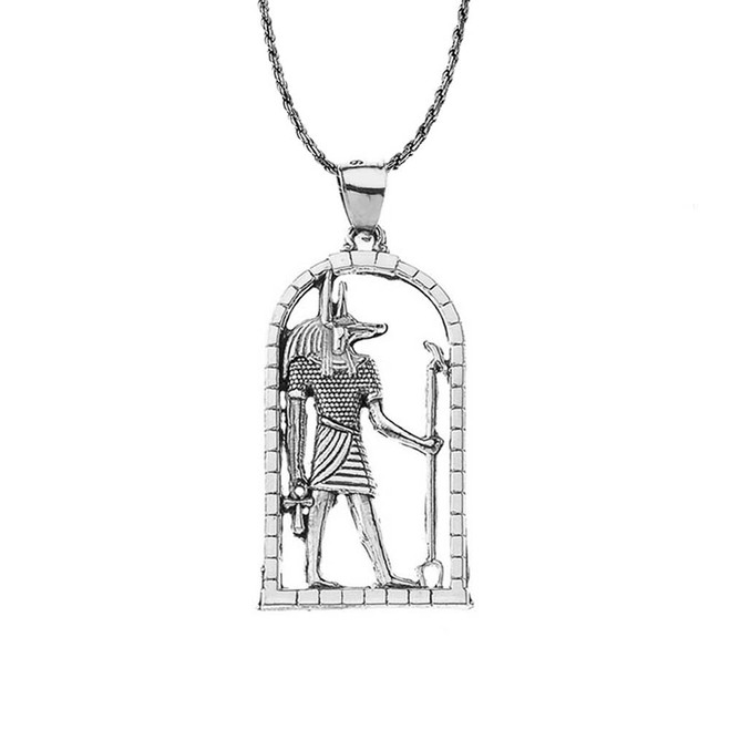 Oxidized Sterling Silver Egyptian Anubis Pendant Necklace