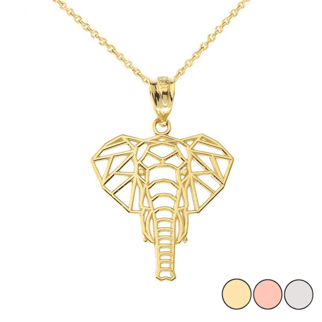 Origami Elephant Pendant Necklace in Gold (Yellow/Rose/White)