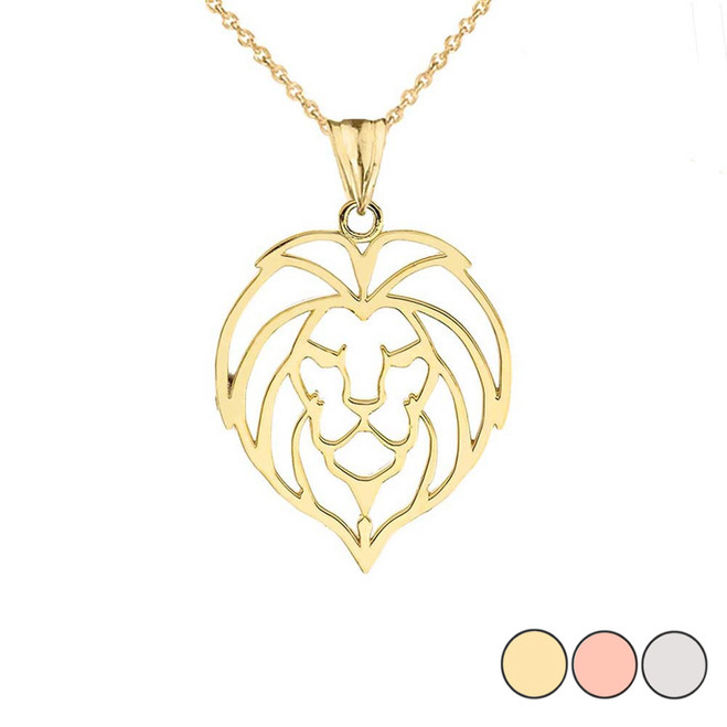 Lion Head Cut Out Pendant Necklace in Gold (Yellow/Rose/White)