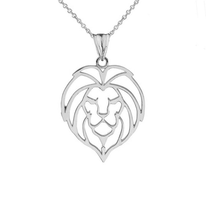 Lion Head Cut Out Pendant Necklace in Sterling Silver