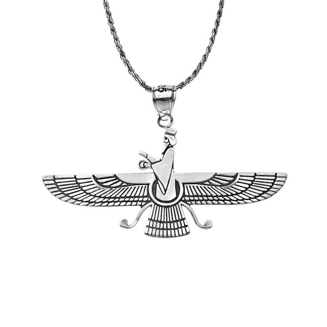 Oxidized Persian Faravahar Pendant Necklace in Sterling Silver