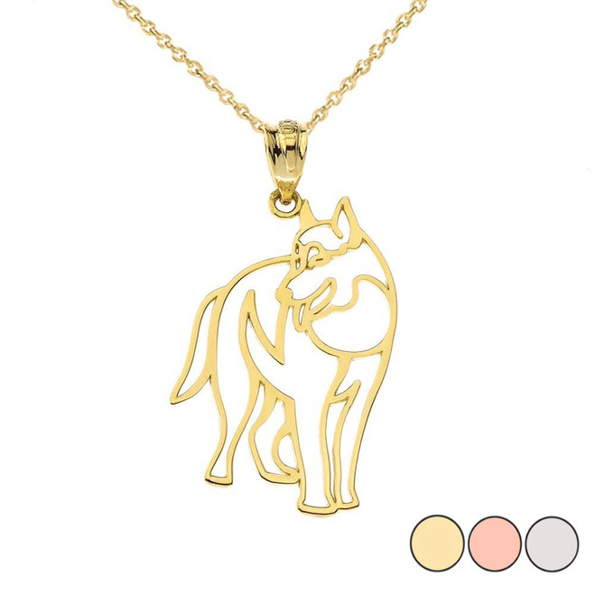 Wolf Cut Out Pendant Necklace in Gold (Yellow/Rose/White)