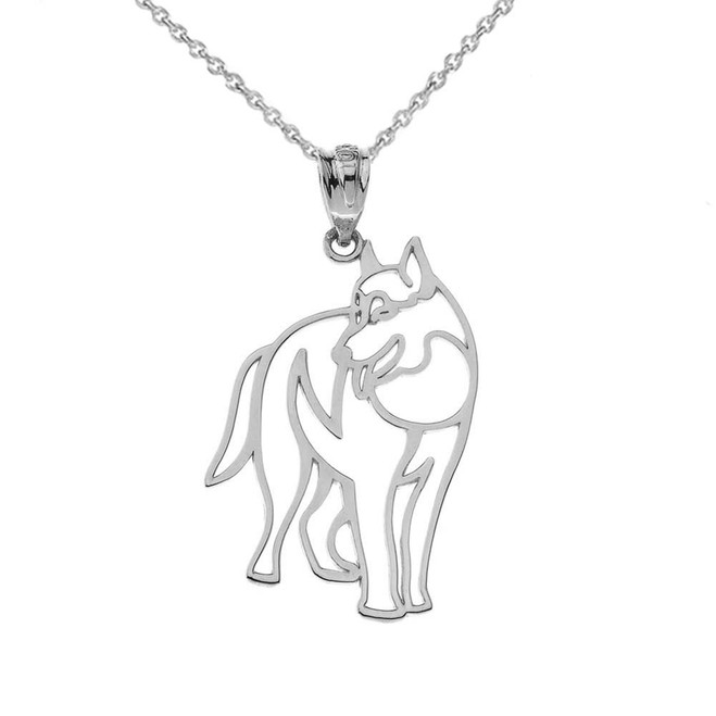 Wolf Cut Out  Pendant Necklace in White Gold