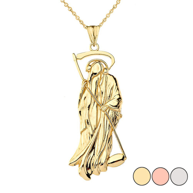 Musical Grim Reaper Pendant Necklace in Gold (Yellow/Rose/White)