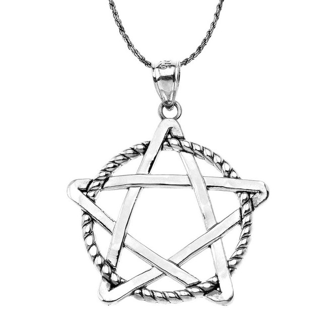 Oxidized Pentagram Intertwined in Rope Pendant Necklace in Sterling Silver