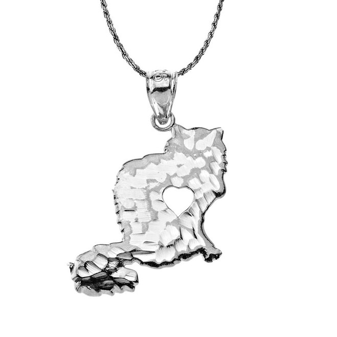 Oxidized Fluffy Cat with Cutout Heart Silhouette Pendant Necklace in Sterling Silver