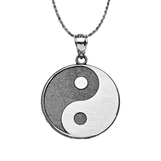 Oxidized  Yin and Yang Taoist Symbol Charm Pendant Necklace in Sterling Silver