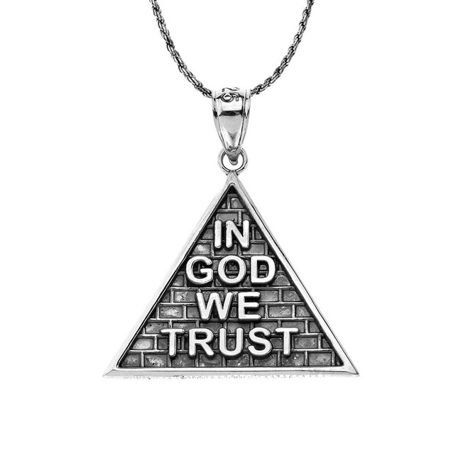 "Oxidized ""In God We Trust"" Pyramid Pendant Necklace in Sterling Silver"