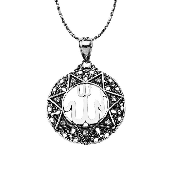 """CZ Filigree Round Allah Pendant Necklace ( 1"""" ) in Oxidized Sterling Silver"""
