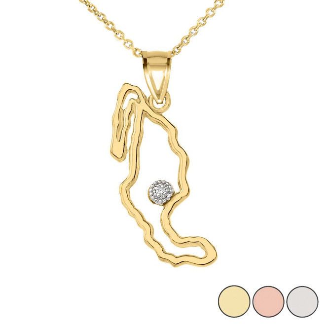 Diamond Outline Mexico Map Pendant Necklace in Gold (Yellow/Rose/White)