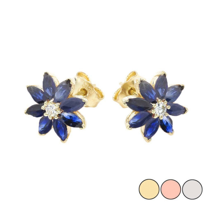 Genuine Sapphire and Diamond Daisy Stud Earrings In 10K (Yellow/Rose/White) Gold
