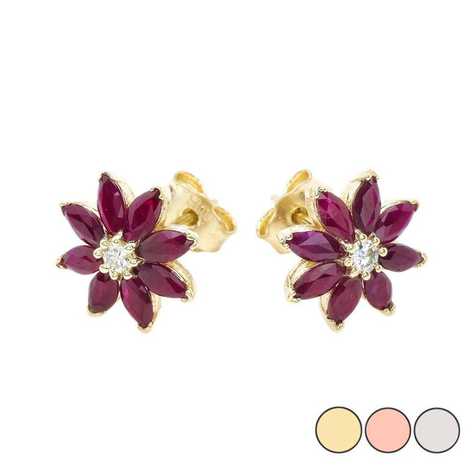 Genuine Ruby and Diamond Daisy Stud Earrings In 10K Gold (Yellow/Rose/White)